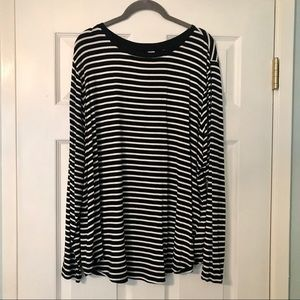 Old Navy black & white striped luxe long sleeve